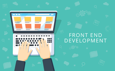 Front End Development, web application, website creating concept. Developer working at a laptop. Flat style and doodle icons in background, top view. Vector illustration