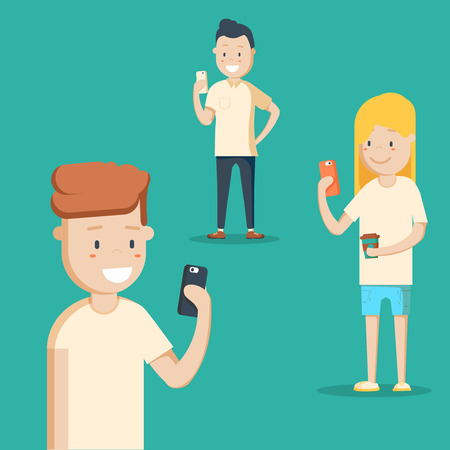 Mobile messenger concept. Social media. A group of young people with smartphones