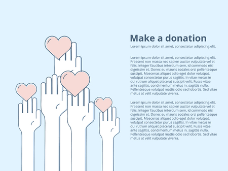 Vector Icon Style Illustration Card or Poster Template with Charity and Fundraising Objects. Volunteer Poster. Иллюстрация