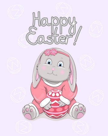 Cartoon little Easter bunny with egg and text Happy Easter. Card with cute rabbit in red. Ilustrace