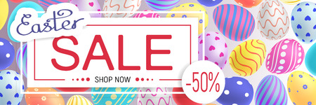 Easter sale banner with many easter eggs on the background.