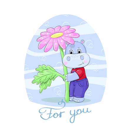 Cartoon little hippo with a flower and text For you. Cute animal on the blue background. 일러스트