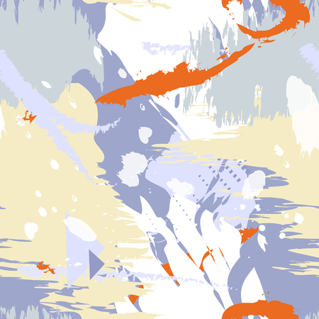 Seamless pattern with abstract grange design in blue, white, orange colors.