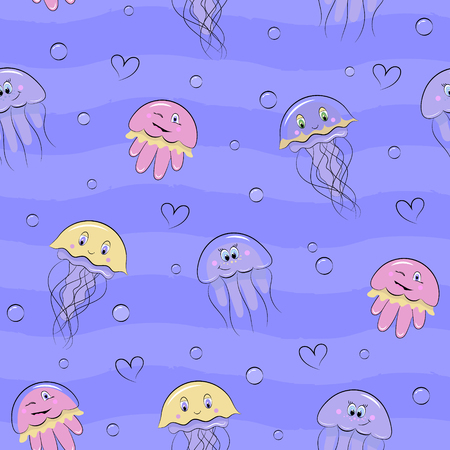 Cartoon seamless pattern with sea animals. Cute jellyfish in diffrent colors on blue background with bubbles and hearts.