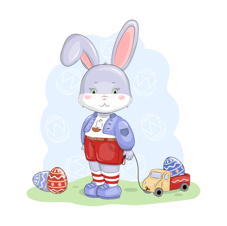 Cute cartoon Easter bunny with truck and eggs. Vectores