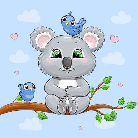 Cute cartoon koala sitting on a tree. Vector illustration of an animal with birds on a blue background.