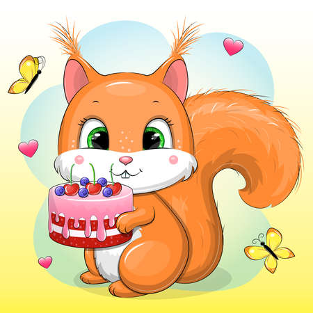 Cute cartoon baby squirrel with a birthday cake. Vector animal illustration with hearts and butterflies.
