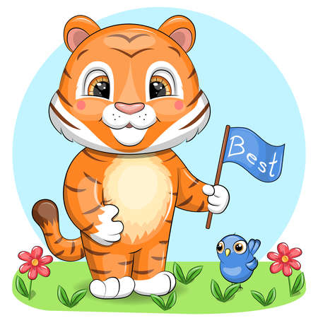 Cute cartoon tiger holding a flag. Vector illustration of an animal in nature with flowers and a bird.
