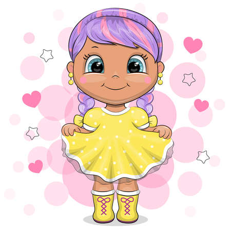 Cute cartoon girl with purple hair in a yellow dress. Vector illustration of a child on a pink background with hearts.