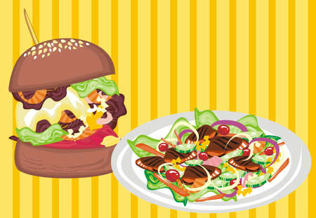 vegetarian hamburger: Junk Food VS Healthy Food