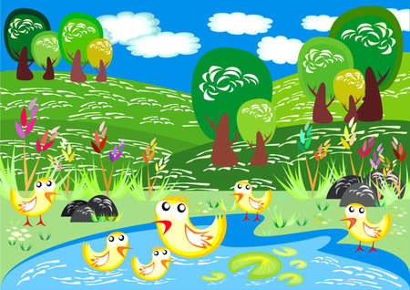 fishing village: Ducks Swim in Spring Time Illustration