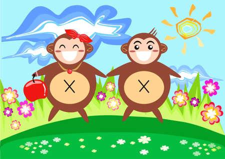 Monkey Couple in Spring Illustration