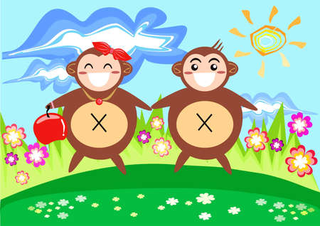 Monkey Couple in Spring Vector
