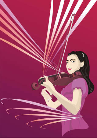Violin Girl Stock Vector - 9763505