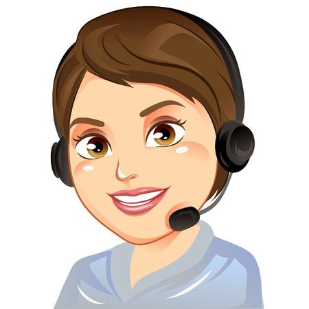 costumer: Costumer Service Woman smiling  Illustration