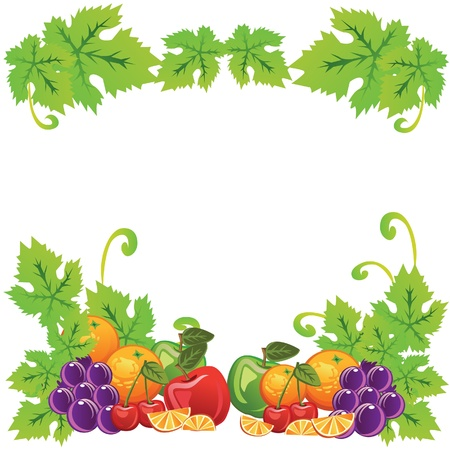Bunch fruit set for background or card  All elements layered and grouped