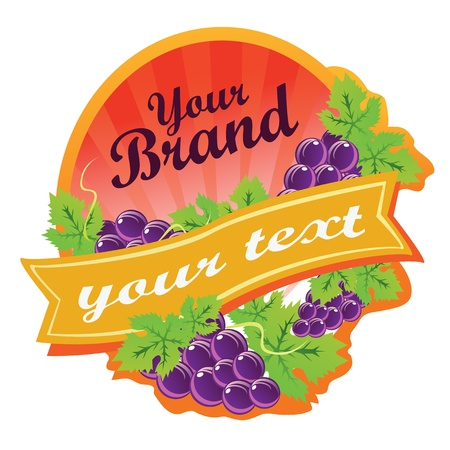 Label for some beverages made by grapes, or can be used as logo. All elements are grouped and layered.