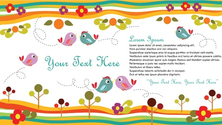 Cute bird set for card or background