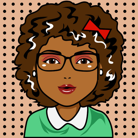 afro hair: Character with afro hair and black skin  Draw in cartoon and retro comic style  All elements grouped and layered Illustration