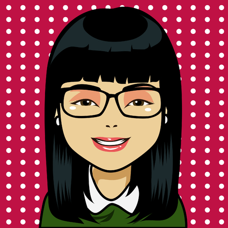 Character with black straight hair and light skin  Draw in cartoon and retro comic style  All elements grouped and layered