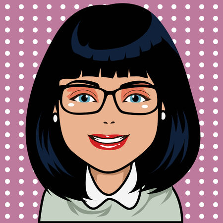 Character with black hair and latin skin  Draw in cartoon and retro comic style  All elements grouped and layered