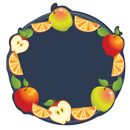 Apple and orange composition make a frame  Can used as label  Illustration