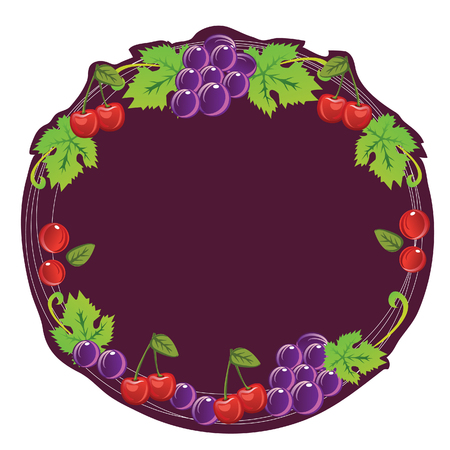 Grape and cherry composition make a frame  All elements grouped and layered