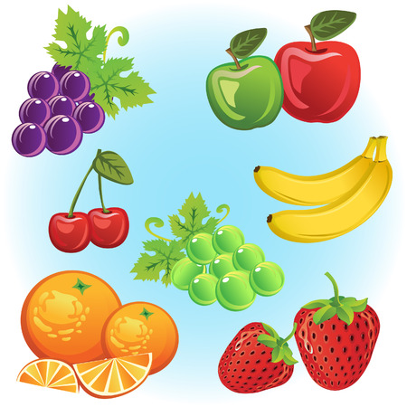 Set of fruits like grape, strawberry, chardonnay, cherry, orange, apples and banana  All elements grouped and layered