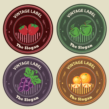 Grape, orange, apple, strawberry in vintage label, can be used as logo  All elements grouped and layered