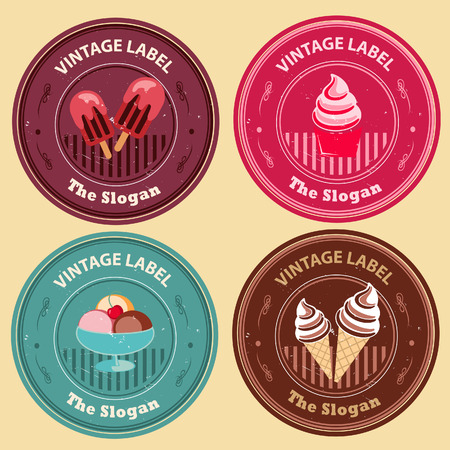 Label in vintage style in various ice cream type  All elements grouped and layered  Vector