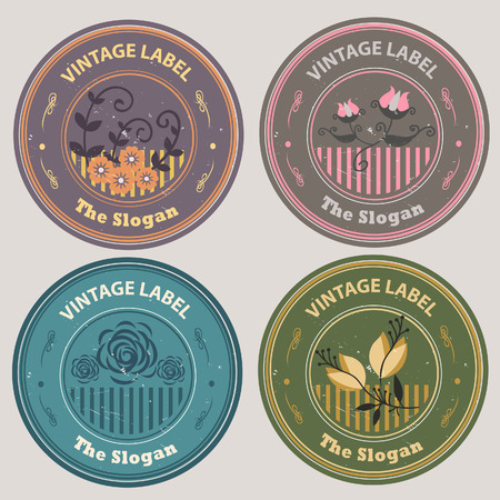 Various flowers like dahlia, lily, tulip, and, daisy in vintage label set  All elements grouped and layered