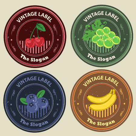 Various fruits like chardonnay, cherry, banana, and blueberry in vintage label set  All elements grouped and layered  Illustration