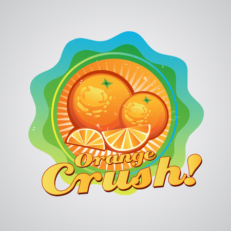 Orange logo, can be used as label  All elements grouped and layered
