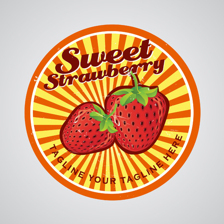 Strawberry in yellow background logo  Can be used as label  All elements grouped and layered