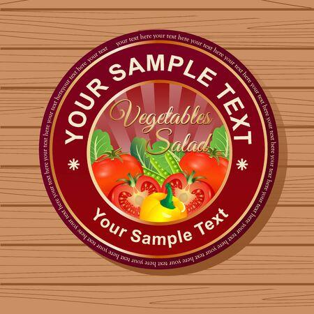 Circle Vegetable Label Ilustração