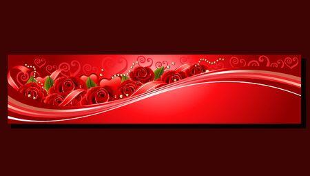 valentine red banner rose Vetores