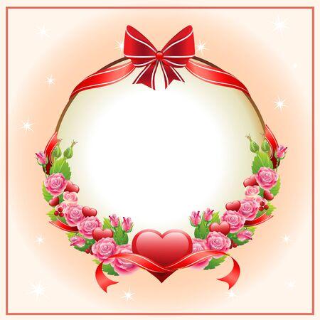 rose bouquet: happy valentine card Illustration