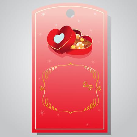 tag valentine: valentine tag chocolate box Illustration