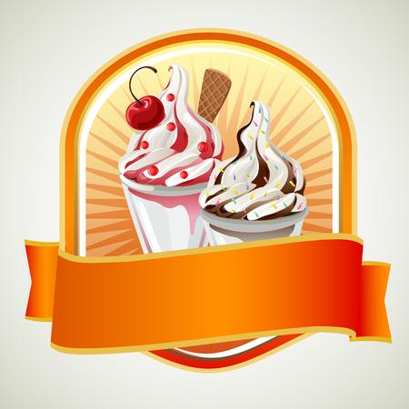 coppa di gelato: distintivo sundae Vettoriali