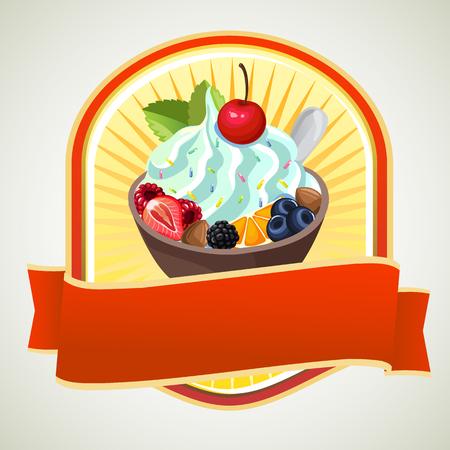 yoghurt: yoghurt label Illustration
