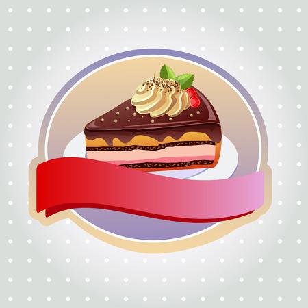 custard: chocolate tart label Illustration