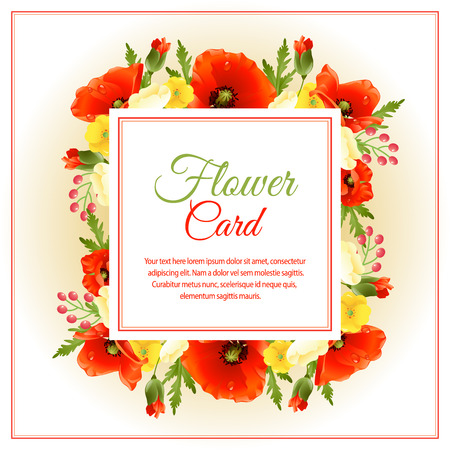 red flower square card