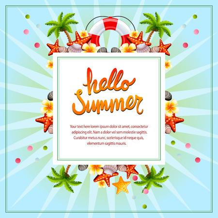 Hello summer blue Illustration