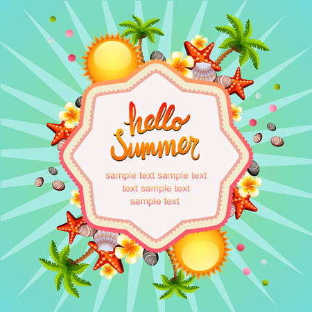 Hello summer with sun and coconut tree Illustration