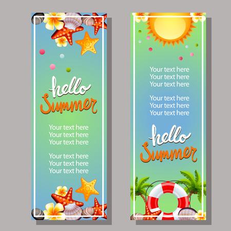 Hello summer vertical banner