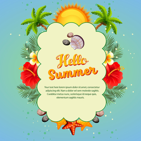 hello summer with cloud shape texting