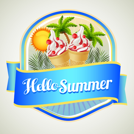 summer badge with ice cream