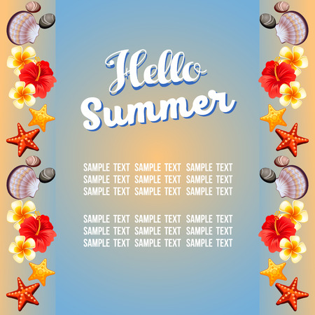 summer theme with vertical border Illustration