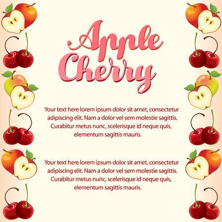 apple cherry vertical border card