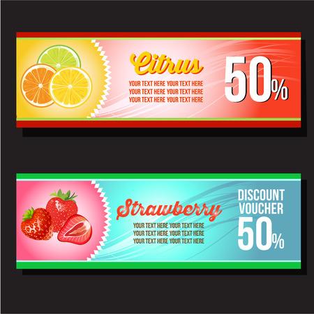 citrus and strawberry horizontal banner